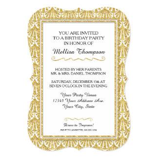 21st Birthday Party Glam Great Gatsby Style 13 Cm X 18 Cm Invitation Card