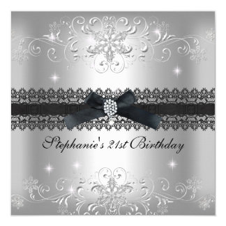 21st Birthday Party Glitter Silver Grey 13 Cm X 13 Cm Square Invitation Card