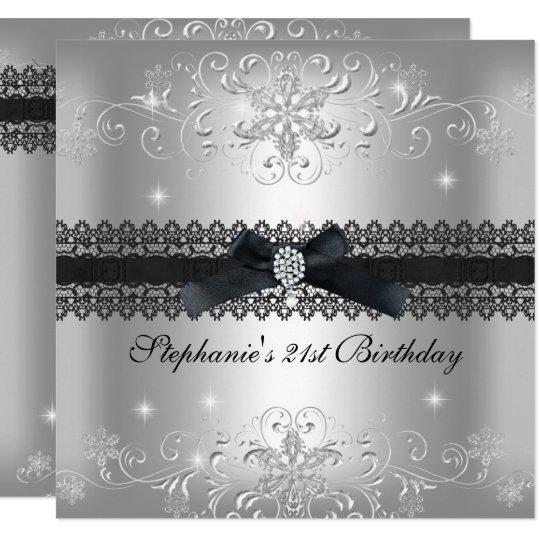 21st Birthday Party Glitter Silver Grey Card