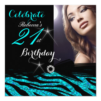 21st Birthday Party Glitter Teal Blue Zebra 4a Card