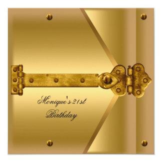 21st Birthday Party Gold Metal Locks Hinges Card