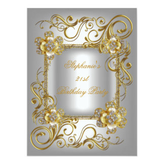 21st Birthday Party Grey Silver Gold Diamond 3 Card