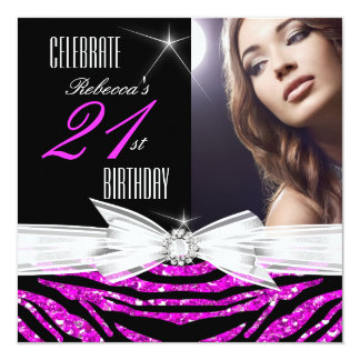21st Birthday Party Hot Pink 21 Zebra Photo 3 Card