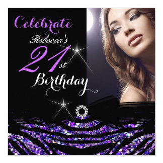 21st Birthday Party Hot Purple 21 Zebra Photo 4 Card