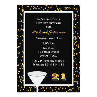 21st Birthday Party Invitation -- 21 and Confetti Custom Announcements