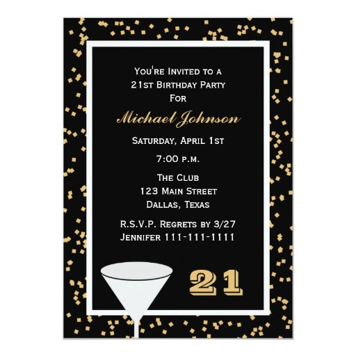 21st Birthday Party Invitation 21 and Confetti