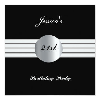 21st  Birthday Party Invitation Black