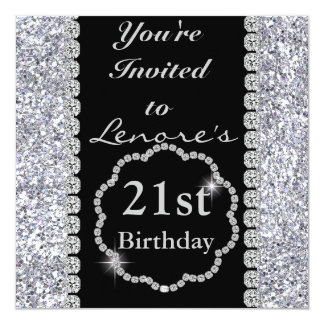 21st Birthday Party Invitation DIAMONDS & SPARKLES