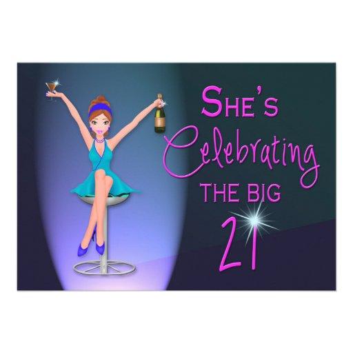 21ST Birthday Party Invitation -  Flirty and Sassy