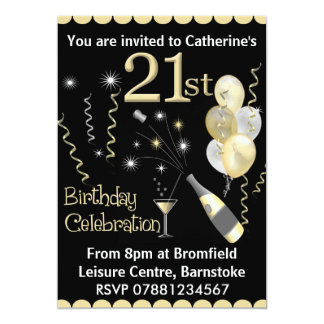 21st Birthday Party Invitations - Black & Gold