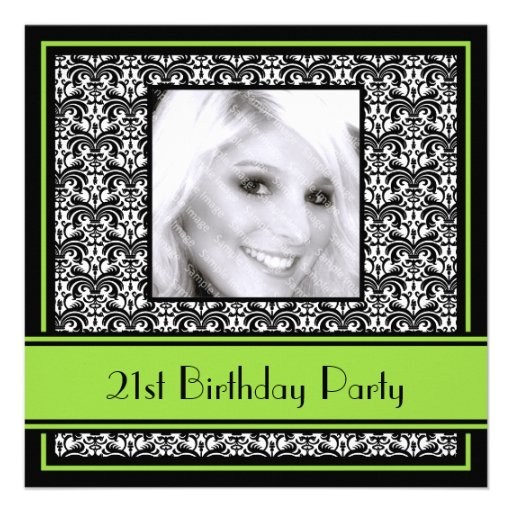 21st Birthday Party Invitations Damask Lime
