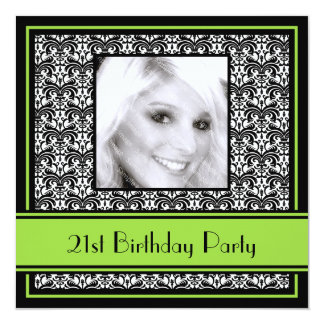 "21st Birthday Party Invitations Damask Lime 5.25"" Square Invitation Card"