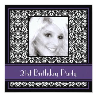 21st Birthday Party Invitations Damask Purple