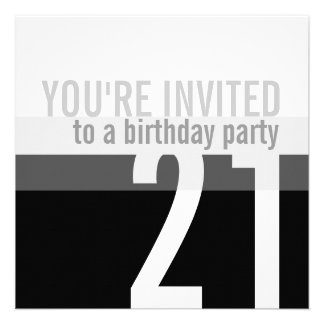 21st Birthday Party Invitations Silver