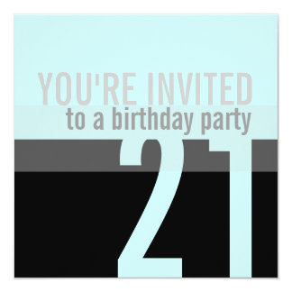 21st Birthday Party Invitations {Teal Blue}