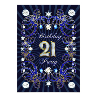 21st birthday party invite with masses of jewels