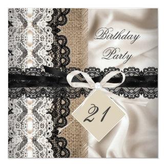 21st Birthday Party Lace Rustic Burlap Silk 13 Cm X 13 Cm Square Invitation Card
