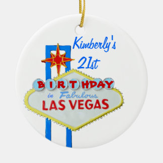21st Birthday Party Las Vegas Round Ceramic Decoration