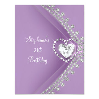 21st Birthday Party Lilac Heart Diamond Jewel 11 Cm X 14 Cm Invitation Card