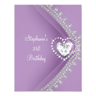 21st Birthday Party Lilac Heart Diamond Jewel 11 Cm X 14 Cm Invitation Card