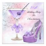 21st Birthday Party Lilac Martini Purple Pink 13 Cm X 13 Cm Square Invitation Card