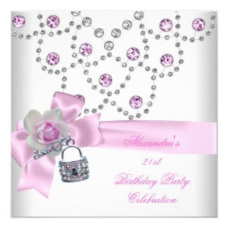 21st Birthday Party Overlay Pink Jewel Key Lock Card