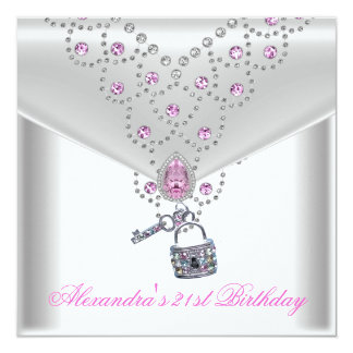 21st Birthday Party Overlay Pink Jewel Key Lock Card