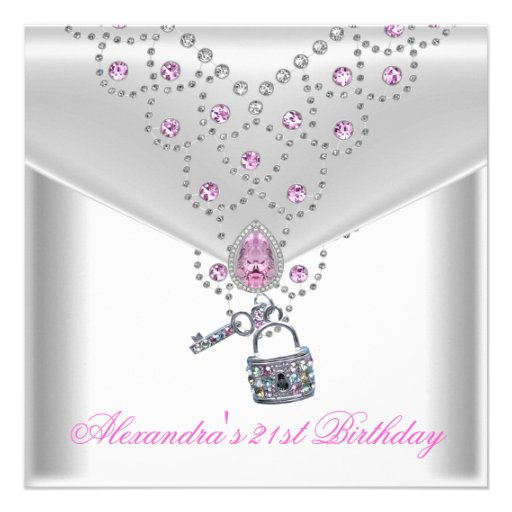 21st Birthday Party Overlay Pink Jewel Key Lock Personalized Invites