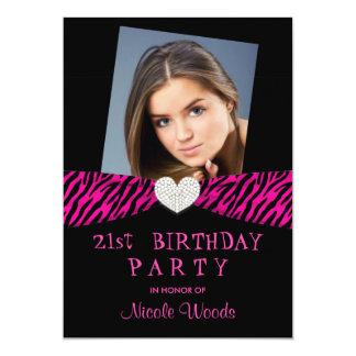 21st Birthday Party Photo Invitations - Pink Zebra