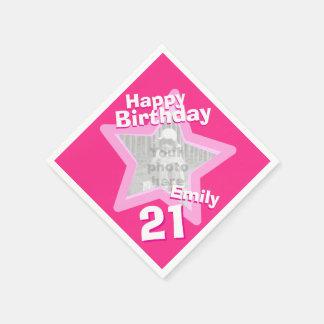 21st Birthday party photo star hot pink napkins Disposable Napkin
