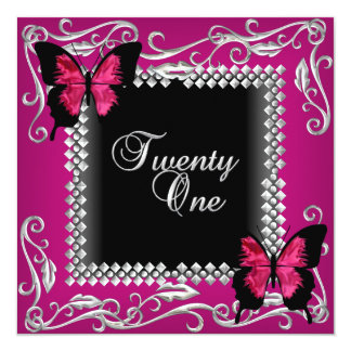 21st Birthday Party Pink Black Butterflies Silver 13 Cm X 13 Cm Square Invitation Card
