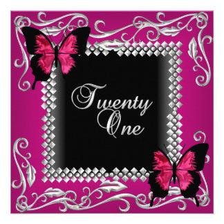 21st Birthday Party Pink Black Butterflies Silver Custom Invitations