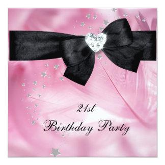 21st Birthday Party Pink Black White 13 Cm X 13 Cm Square Invitation Card
