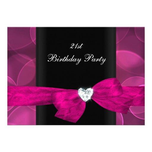 21st Birthday Party Pink Black White Bubbles Invites