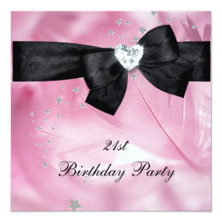 21st Birthday Party Pink Black White 13 Cm X 13 Cm Square Invitation Card