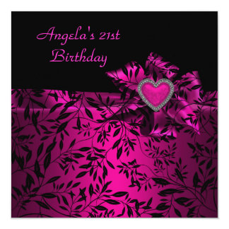 21st Birthday Party Pink Bow Black Floral  21 13 Cm X 13 Cm Square Invitation Card