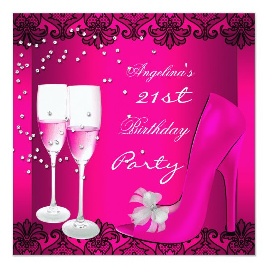 21st Birthday Party Pink Champagne High Heel Shoes Card