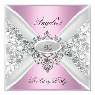 21st Birthday Party Pink Elegant Silver White Card