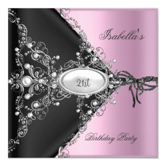21st Birthday Party Pink Elegant Silver White 13 Cm X 13 Cm Square Invitation Card