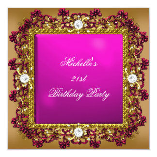21st Birthday Party Pink Gold Diamond Jewel 3 Card