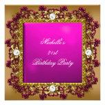 21st Birthday Party Pink Gold Diamond Jewel 3 Custom Invite
