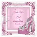 21st Birthday Party Pink High Heel Shoes 13 Cm X 13 Cm Square Invitation Card