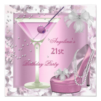 21st Birthday Party Pink Martini High Heel Floral Card