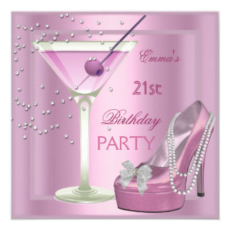 21st Birthday Party Pink Martini High Heel Shoes 13 Cm X 13 Cm Square Invitation Card