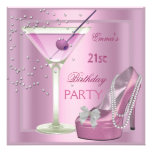21st Birthday Party Pink Martini High Heel Shoes Personalized Invites