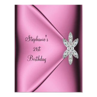 21st Birthday Party Pink Silk Diamond Jewel 11 Cm X 14 Cm Invitation Card