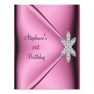 21st Birthday Party Pink Silk Diamond Jewel 11 Cm X 14 Cm Invitation Card