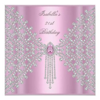 21st Birthday Party Pink Silver White Diamond 13 Cm X 13 Cm Square Invitation Card