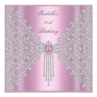 21st Birthday Party Pink Silver White Diamond 13 Cm X 13 Cm Square Invitation Card