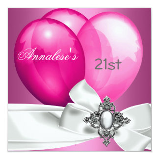 21st Birthday Party Pink White Silver Bow Balloons 13 Cm X 13 Cm Square Invitation Card
